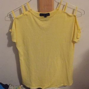 Yellow strappy shoulder shirt